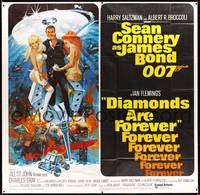 8y006 DIAMONDS ARE FOREVER int'l 6sh '71 art of Sean Connery as James Bond by Robert McGinnis!