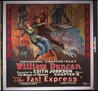 8y012 FAST EXPRESS linen CH 3 6sh '24 great stone litho of William Duncan rescuing Edith Johnson!
