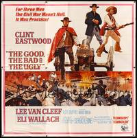 8y005 GOOD, THE BAD & THE UGLY 6sh '68 Clint Eastwood, Lee Van Cleef, Sergio Leone, cool art!