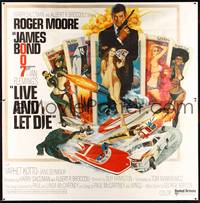 8y008 LIVE & LET DIE 6sh '73 art of Roger Moore as James Bond by Robert McGinnis!