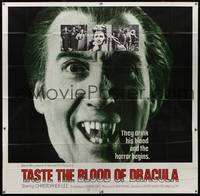 8y010 TASTE THE BLOOD OF DRACULA int'l 6sh '70 best wacky close up of vampire Christopher Lee!