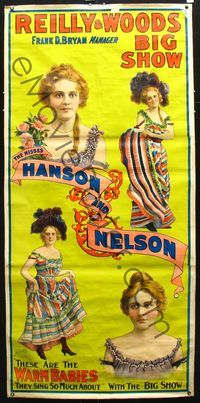 8y143 REILLY & WOODS BIG SHOW linen circus poster c1900s stone litho of The Misses Hanson & Nelson!