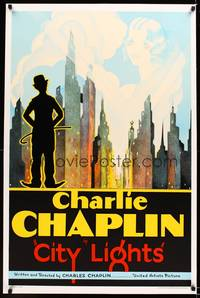 8y041 CITY LIGHTS S2 recreation one-sheet '01 Charlie Chaplin overlooking New York skyline!