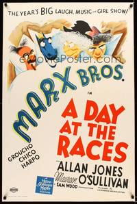 8y042 DAY AT THE RACES S2 recreation one-sheet '02 Groucho, Chico & Harpo Marx in bed with horse!