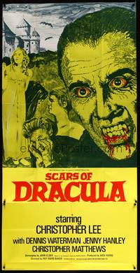 8y013 SCARS OF DRACULA English 3sh '70 c/u art of bloody vampire Christopher Lee, Hammer horror!