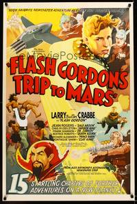 8y043 FLASH GORDON'S TRIP TO MARS S2 recreation one-sheet '01 full-color serial art, shows Ming!