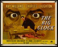 8y048 BIG CLOCK 1/2sh '48 completely different art of Ray Milland with body & giant looming eyes!