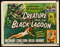 8y045 CREATURE FROM THE BLACK LAGOON 1/2sh '54 Reynold Brown art of monster & scuba divers!