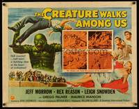 8y046 CREATURE WALKS AMONG US 1/2sh '56 different Reynold Brown art of monster about to throw man!