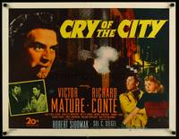 8y050 CRY OF THE CITY 1/2sh '48 film noir, c/u of Victor Mature, Richard Conte, Shelley Winters