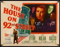 8y052 HOUSE ON 92nd STREET 1/2sh '45 William Eythe, Lloyd Nolan, Signe Hasso, film noir!