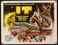 8y047 IT CAME FROM BENEATH THE SEA 1/2sh '55 Ray Harryhausen, a tidal wave of terror, cool art!