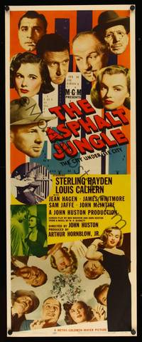 8y058 ASPHALT JUNGLE insert '50 best poster on this classic title, Marilyn Monroe shown twice!