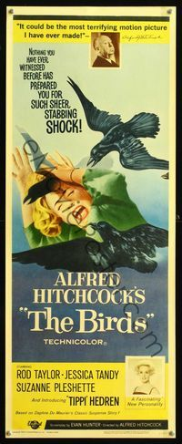 8y059 BIRDS insert '63 Alfred Hitchcock shown, close up of Tippi Hedren attacked by birds!