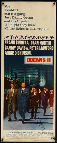 8y056 OCEAN'S 11 insert '60 Sinatra, Martin, Davis Jr., Dickinson, Lawford, Rat Pack!