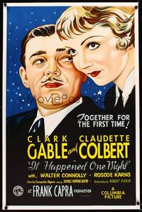 8y044 IT HAPPENED ONE NIGHT S2 recreation one-sheet '01 c/u art of Clark Gable & Claudette Colbert
