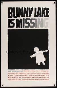 8y036 BUNNY LAKE IS MISSING limited edition 25x39 silkscreen '65 really cool Saul Bass artwork!