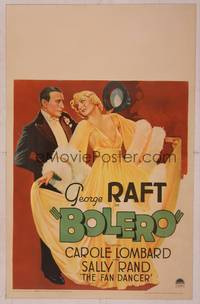 8y067 BOLERO WC '34 fantastic art of George Raft in tuxedo with glamorous sexy Carole Lombard!