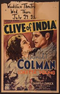 8y076 CLIVE OF INDIA WC '35 romantic close up art of Ronald Colman & beautiful Loretta Young!