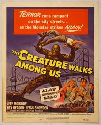 8y077 CREATURE WALKS AMONG US WC '56 Reynold Brown art of monster attacking by Golden Gate Bridge!