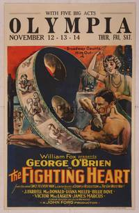 8y070 FIGHTING HEART WC '25 John Ford, great stone litho of boxer George O'Brien & film reel!