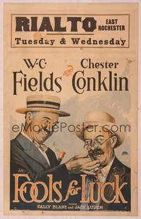 8y078 FOOLS FOR LUCK WC '28 wacky stone litho of W.C. Fields pulling Chester Conklin's mustache!