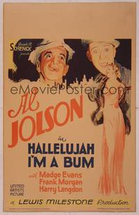 8y079 HALLELUJAH I'M A BUM WC '33 art of Al Jolson, Harry Langdon & sexy full-length Madge Evans!