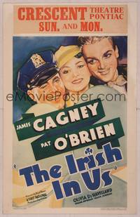 8y080 IRISH IN US WC '35 art of pretty Olivia De Havilland between James Cagney & Pat O'Brien!