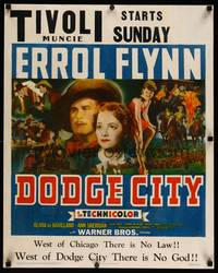 8y065 DODGE CITY jumbo WC '39 Errol Flynn, Olivia De Havilland, Sheridan, Michael Curtiz classic!