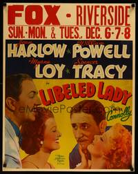 8y063 LIBELED LADY jumbo WC '36 art of Jean Harlow, William Powell, Spencer Tracy & Myrna Loy!