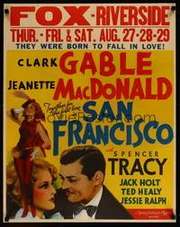 8y064 SAN FRANCISCO jumbo WC '36 close up of smiling Clark Gable & sexy Jeanette MacDonald!