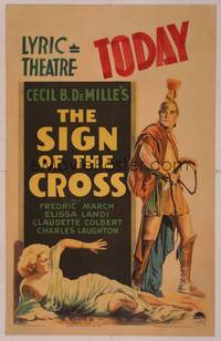8y071 SIGN OF THE CROSS WC '32 Cecil B. DeMille, art of Fredric March about to whip Elissa Landi!