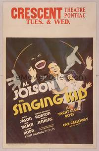 8y072 SINGING KID WC '36 wonderful art of Al Jolson in blackface & with little Sybil Jason!