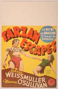 8y066 TARZAN ESCAPES linen WC '36 wonderful image of Johnny Weissmuller & sexy Maureen O'Sullivan!