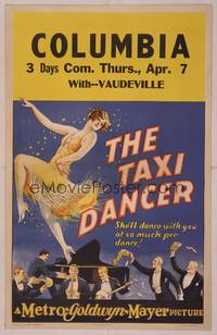 8y074 TAXI DANCER WC '27 wonderful stone litho of sexy young Joan Crawford dancing for admirers!
