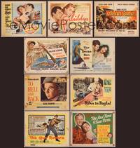 8z004 LOT OF TITLE LOBBY CARDS 50 TCs mostly 1950s & 1960s, Kiss Me Deadly, To Hell & Back!