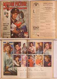 8z072 MOTION PICTURE magazine December 1943, Army officer Alan Ladd holding Christmas presents!