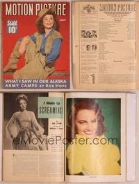 8z061 MOTION PICTURE magazine January 1943, portrait of cowgirl Paulette Goddard showing leg!