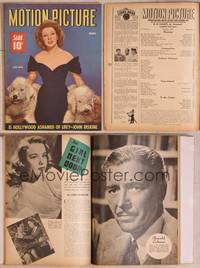 8z063 MOTION PICTURE magazine March 1943, portrait of Greer Garson with her two dogs!