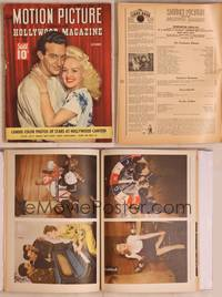8z070 MOTION PICTURE magazine October 1943, great romantic portrait of Betty Grable & Harry James!