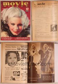 8z031 MOVIE MIRROR magazine June 1935, wonderful art of sexy Jean Harlow by A. Mozert!