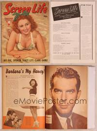 8z043 SCREEN LIFE magazine July 1940, Joan Blondell in low-cut bathing suit laying in sand!
