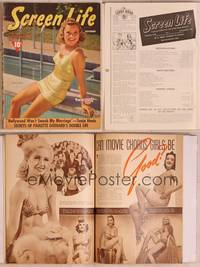 8z047 SCREEN LIFE magazine November 1940, Sonja Henie in swimsuit sitting on diving board!