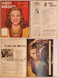 8z079 SCREEN ROMANCES magazine July 1945, smiling portrait of Deanna Durbin in Lady on a Train!