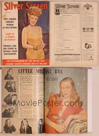 8z050 SILVER SCREEN magazine February 1943, smiling Betty Grable in slinky yellow evening gown!