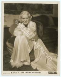 9g012 ALICE FAYE 8x10 still '35 great full-length portrait in flowing white gown!