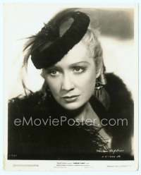 9g031 BARBARY COAST 8x10 still '35 great close up of stern-looking Miriam Hopkins in feather boa!