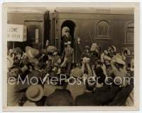 9g033 BATTLING BUTLER 8x10 still '26 bewildered Buster Keaton exiting train to huge crowd!