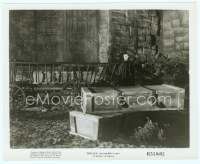 9g116 DRACULA 8x10 still R51 Tod Browning, vampire Bela Lugosi in cape standing by coffin!