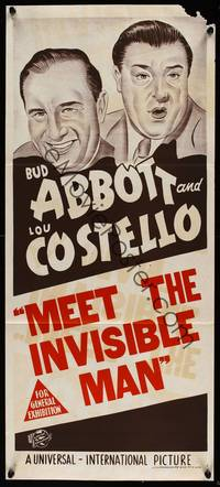 9j590 ABBOTT  COSTELLO STOCK Aust daybill R50s stone litho art of Bud  Lou Invisible Man